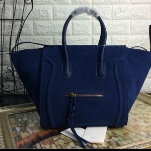 Cobalt blue suede Celine Phantom bag